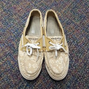 Women's Sperry 9.5 top siders..tan and cream